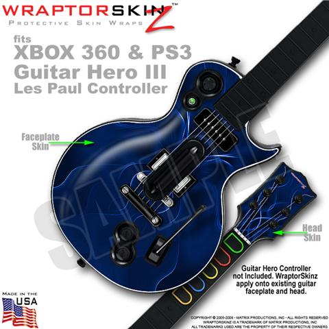 Abstract 01 Blue WraptorSkinz ? Skin fits XBOX 360 & PS3 Guitar Hero III Les Pau