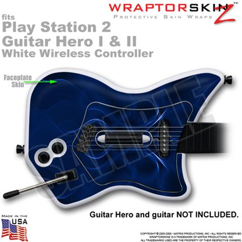 PS2 Guitar Hero I & II White Wireless Abstract 01 Blue Skin