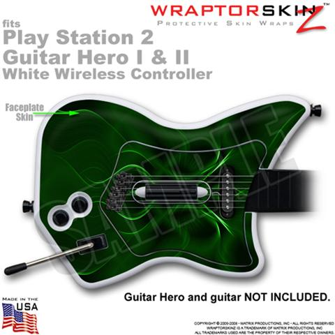 PS2 Guitar Hero I & II White Wireless Abstract 01 Green Skin