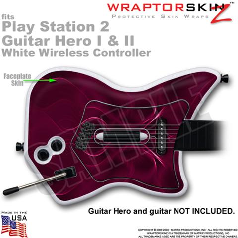 PS2 Guitar Hero I & II White Wireless Abstract 01 Pink Skin