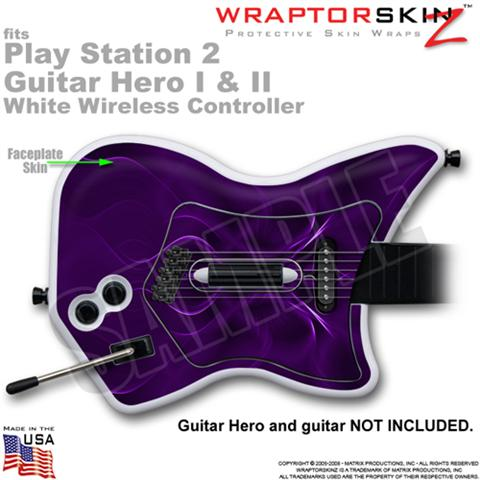 PS2 Guitar Hero I & II White Wireless Abstract 01 Purple Skin