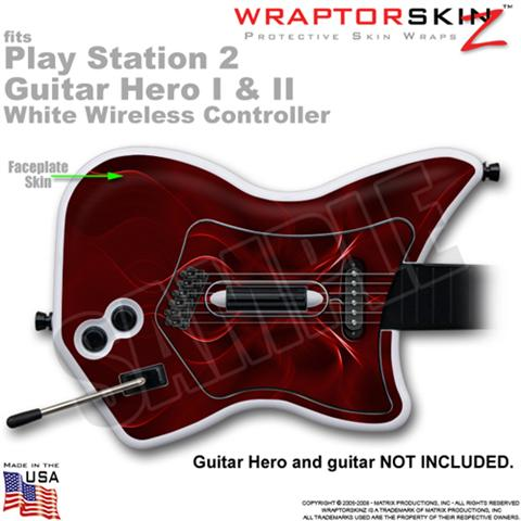 PS2 Guitar Hero I & II White Wireless Abstract 01 Red Skin