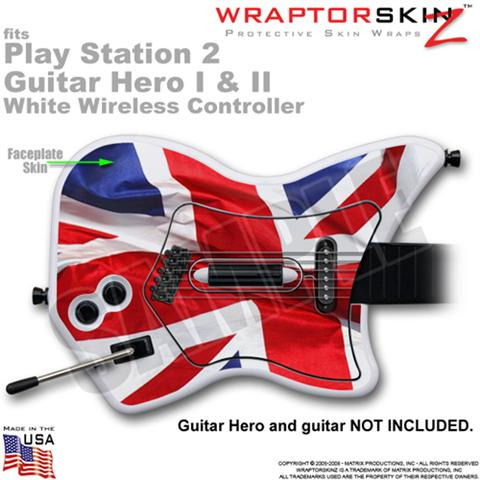 PS2 Guitar Hero I & II White Wireless Union Jack 01 Skin