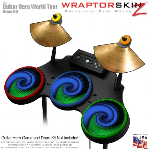 Alecias Swirl 01 Blue Skin by WraptorSkinz? fits Guitar Hero 4 World Tour Drum S