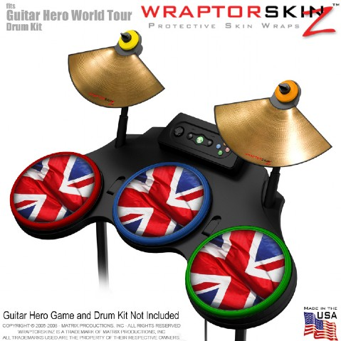 Union Jack 01 Skin by WraptorSkinz? fits Guitar Hero 4 World Tour Drum Set for N