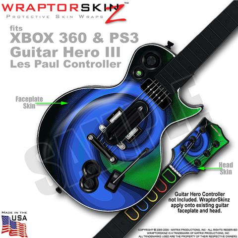 Alecias Swirl 01 Blue WraptorSkinz ? Skin fits XBOX 360 & PS3 Guitar Hero III Le