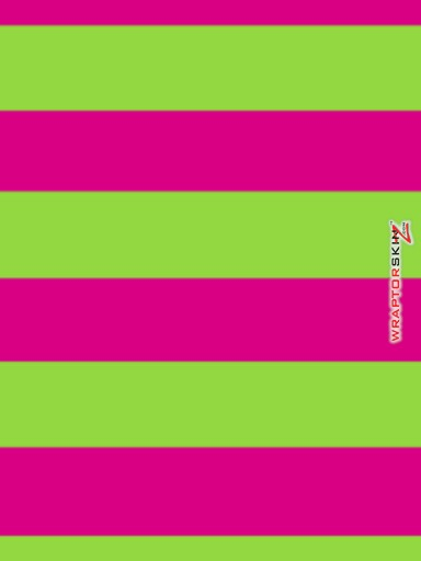 iPad Skin - Kearas Psycho Stripes Neon Green and Hot Pink