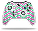 Zig Zag Teal Green and Pink - Decal Style Skin fits Microsoft XBOX One S and One X Wireless Controller