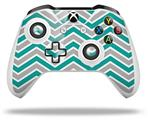 Skin Wrap for Microsoft XBOX One S / X Controller Zig Zag Teal and Gray