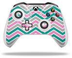 Zig Zag Teal Pink and Gray - Decal Style Skin fits Microsoft XBOX One S and One X Wireless Controller