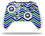 Zig Zag Blue Green - Decal Style Skin fits Microsoft XBOX One S and One X Wireless Controller