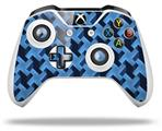 Retro Houndstooth Blue - Decal Style Skin fits Microsoft XBOX One S and One X Wireless Controller