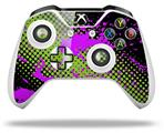 Halftone Splatter Hot Pink Green - Decal Style Skin fits Microsoft XBOX One S and One X Wireless Controller