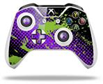 Skin Wrap for Microsoft XBOX One S / X Controller Halftone Splatter Green Purple
