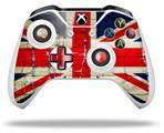 Painted Faded and Cracked Union Jack British Flag - Decal Style Skin fits Microsoft XBOX One S and One X Wireless Controller