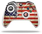 Painted Faded and Cracked USA American Flag - Decal Style Skin fits Microsoft XBOX One S and One X Wireless Controller