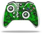 Skin Wrap for Microsoft XBOX One S / X Controller Scattered Skulls Green