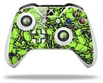 Skin Wrap for Microsoft XBOX One S / X Controller Scattered Skulls Neon Green