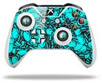 Scattered Skulls Neon Teal - Decal Style Skin fits Microsoft XBOX One S and One X Wireless Controller