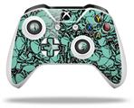 Skin Wrap for Microsoft XBOX One S / X Controller Scattered Skulls Seafoam Green