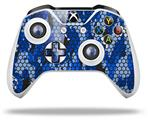 Skin Wrap for Microsoft XBOX One S / X Controller HEX Mesh Camo 01 Blue Bright