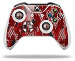 HEX Mesh Camo 01 Red Bright - Decal Style Skin fits Microsoft XBOX One S and One X Wireless Controller