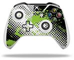 Halftone Splatter Green White - Decal Style Skin fits Microsoft XBOX One S and One X Wireless Controller