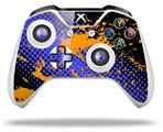 Halftone Splatter Orange Blue - Decal Style Skin fits Microsoft XBOX One S and One X Wireless Controller
