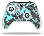 WraptorCamo Old School Camouflage Camo Neon Teal - Decal Style Skin fits Microsoft XBOX One S and One X Wireless Controller