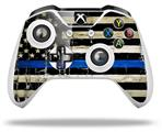 Painted Faded Cracked Blue Line Stripe USA American Flag - Decal Style Skin fits Microsoft XBOX One S and One X Wireless Controller