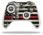 Painted Faded and Cracked Red Line USA American Flag - Decal Style Skin fits Microsoft XBOX One S and One X Wireless Controller