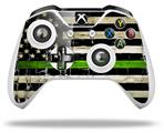 Painted Faded and Cracked Green Line USA American Flag - Decal Style Skin fits Microsoft XBOX One S and One X Wireless Controller
