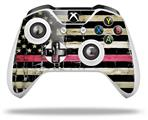 Painted Faded and Cracked Pink Line USA American Flag - Decal Style Skin fits Microsoft XBOX One S and One X Wireless Controller