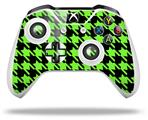 Skin Wrap for Microsoft XBOX One S / X Controller Houndstooth Neon Lime Green on Black