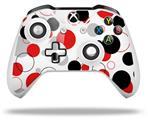 Skin Wrap for Microsoft XBOX One S / X Controller Lots of Dots Red on White