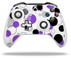 Lots of Dots Purple on White - Decal Style Skin fits Microsoft XBOX One S and One X Wireless Controller