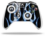 Skin Wrap for Microsoft XBOX One S / X Controller Metal Flames Blue