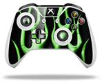Skin Wrap for Microsoft XBOX One S / X Controller Metal Flames Green