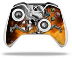 Skin Wrap for Microsoft XBOX One S / X Controller Chrome Skull on Fire