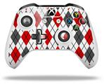Skin Wrap for Microsoft XBOX One S / X Controller Argyle Red and Gray