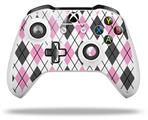 Skin Wrap for Microsoft XBOX One S / X Controller Argyle Pink and Gray