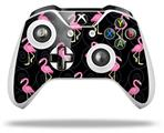 Flamingos on Black - Decal Style Skin fits Microsoft XBOX One S and One X Wireless Controller