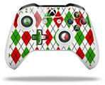 Skin Wrap for Microsoft XBOX One S / X Controller Argyle Red and Green