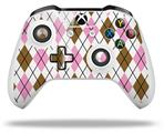 Skin Wrap for Microsoft XBOX One S / X Controller Argyle Pink and Brown