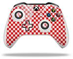 Skin Wrap for Microsoft XBOX One S / X Controller Checkered Canvas Red and White