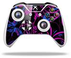 Skin Wrap for Microsoft XBOX One S / X Controller Twisted Garden Hot Pink and Blue