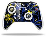 Twisted Garden Blue and Yellow - Decal Style Skin fits Microsoft XBOX One S and One X Wireless Controller