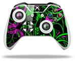Twisted Garden Green and Hot Pink - Decal Style Skin fits Microsoft XBOX One S and One X Wireless Controller