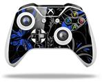 Twisted Garden Gray and Blue - Decal Style Skin fits Microsoft XBOX One S and One X Wireless Controller