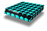 Vinyl Decal Skin Wrap compatible with Sony PlayStation 4 Slim Console Houndstooth Neon Teal on Black (PS4 NOT INCLUDED)